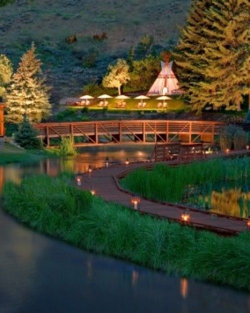 Rustic Inn  ( Jackson Hole, Wyoming )  Flat Creek flows through the property, attracting wildlife including moose and waterfowl. #Jetsetter