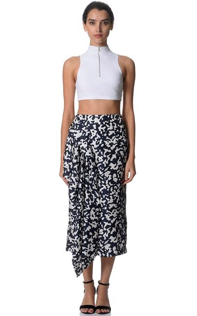 White Navy Silk Side Bustle Skirt by Josh Goot. Price was $795 and is now only $119. Shop at Ozsale!