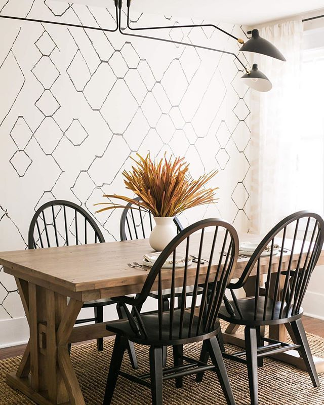 Moroccan Wallpaper by Sarah Sherman Samuel and Lulu & Georgia! Shop the look with L&G to get this modest farmhouse dining room look!