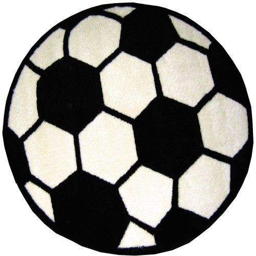"""Round Soccer Ball Area Rug 39"""" by FindingKing. $37.98. It is made of 100% nylon and measures approximately 39"""" (99.06 cm). Perfect for use in your bathroom, living room, kid's room or as a door mat. This is a new round soccer high pile area rug. Round Soccer High Pile Area Rug 39""""      This is a new round soccer high pile area rug    Perfect for use in your bathroom, living room, kid's room or as a door mat    It is made of 100% nylon and measures approximately 39"""" (99.06 cm)"""