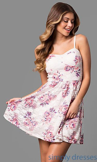 Sweetheart Short Lace Party Dress with Floral Print