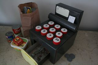 home-eco nanny: DIY Toy Cash Register - this is one of the things on mellie's wishlist...
