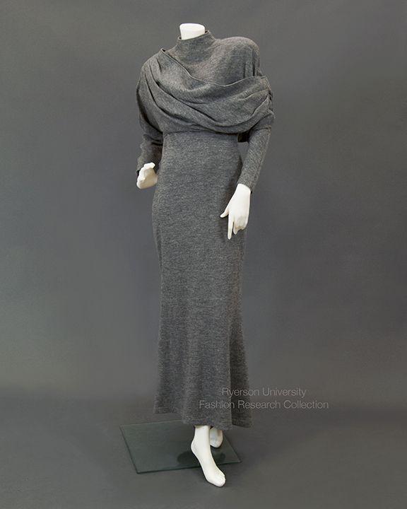 Gray wool dress with draped bodice. CLAUDE MONTANA, FRC2009.01.266