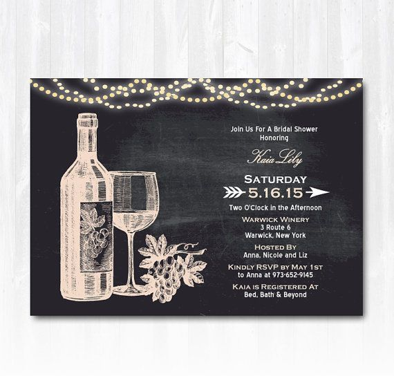 Wine Bridal Shower Invitation with String Lights DIY PRINTABLE Digital File or Print (extra) Winery Bridal Shower Invitation Vineyard Bridal