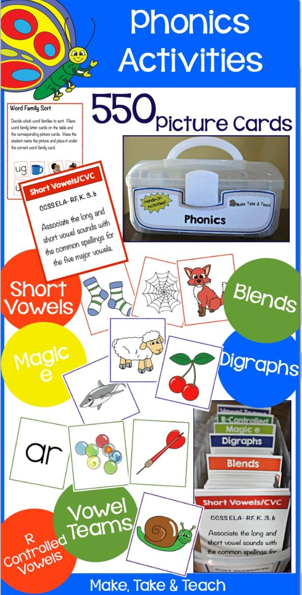 550 picture cards for teaching short vowels, blends, digraphs, magic e, r-controlled vowels and vowel teams. Activity cards and common core alignment cards too!