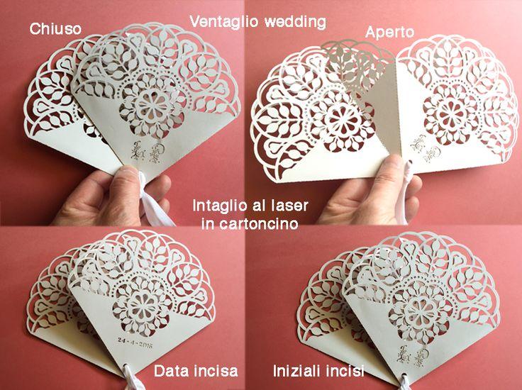 Ventaglio Wedding realizzato in cartoncino intagliaro al laser con iniziali e data Matrimonio apribile, ripiegabile