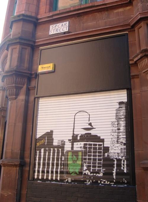 Graffiti art Spear Street Manchester green