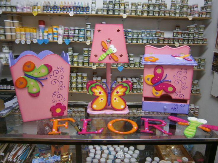 Set infantil cuarto de Niña , Libelulas, Mariposas y Flores
