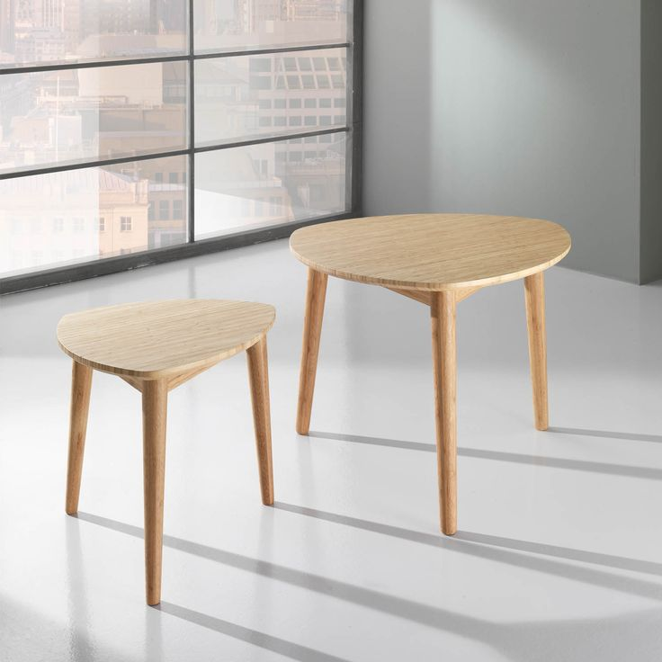 Italian bamboo wood 2 peace coffee table set Italian design dining roo at My Italian Living Ltd
