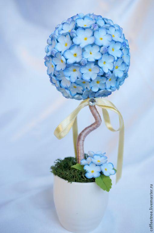 """Топиарии ручной работы. Ярмарка Мастеров - ручная работа. Купить мини топиарий """"незабудковое"""". Handmade. Голубой, топиарий дерево счастья"""