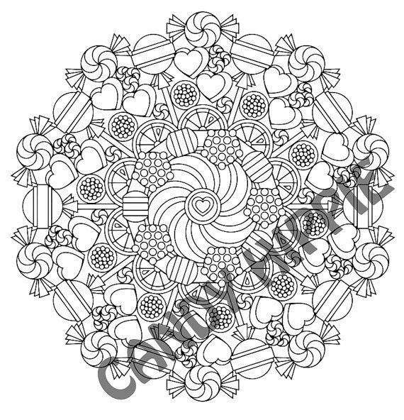 Mandala Coloring Page Round of Sweets printable