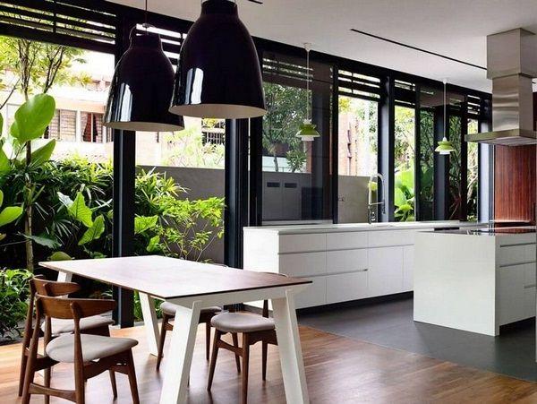 Intérieur idées de conception cuisine conservatoires exemples de périphériques de lampes pendentif noir blanc