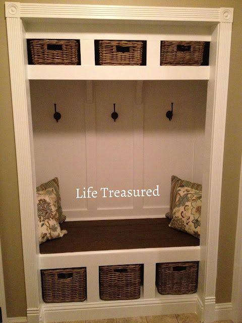 closet turned storage bench