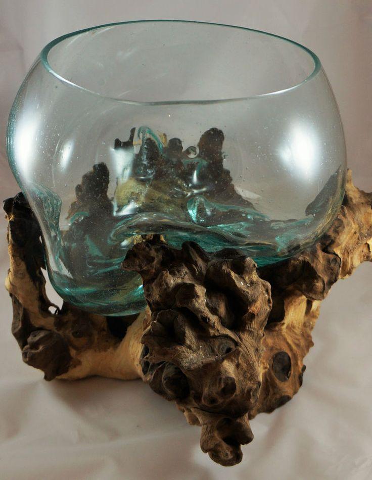 unikat gro e skulptur glas schale auf teak holz wurzel 40x38x28 cm 12 art glass 6. Black Bedroom Furniture Sets. Home Design Ideas