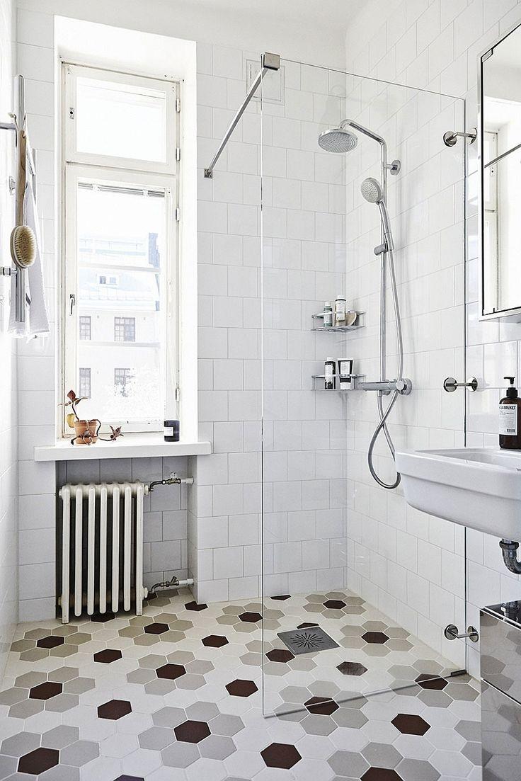 Scandinavian bathroom design with hexagonal floor tiles