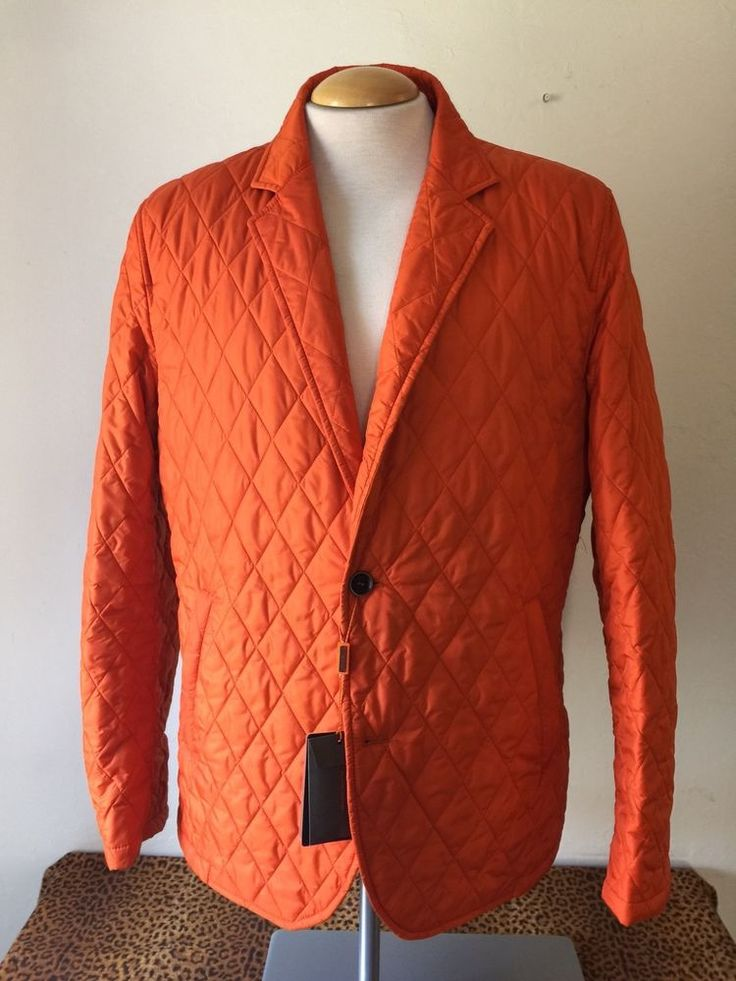 Sporty GEMELLI Mens Nylon Jacket Orange Quilted Size 44R NWT Made in Italy #GEMELLI #QuiltedNylonJacket