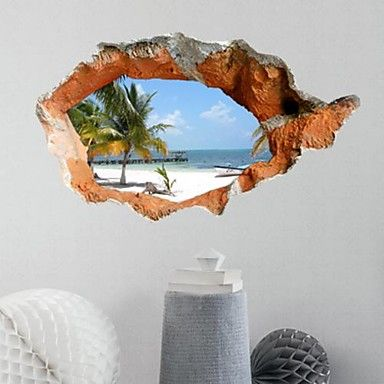 3D Wall Stickers Beautiful Summer Beach PVC Washable Wall Decals - USD $ 12.99