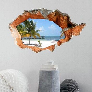 3d muur stickers mooie zomer strand pvc wasbaar muuroverdrukplaatjes - EUR € 11.81
