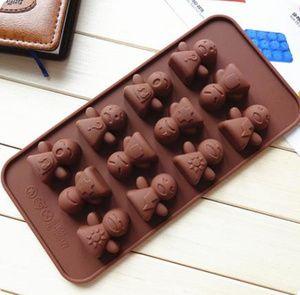 Cetakan Kue / Puding / Cokelat / Es Batu Motif Boneka Lucu Aneka Ekspresi (12 Kotak)