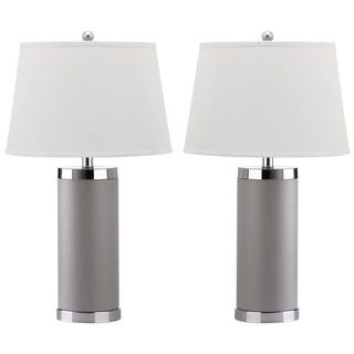 Safavieh Lighting 26-inch Grey Leather Column Table Lamp (Set of 2)