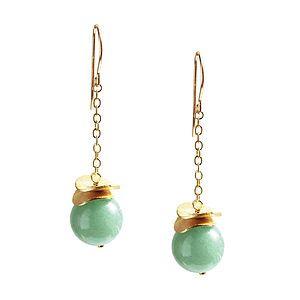 Aventurine And 14k Gold Fill Apple Earrings - earrings