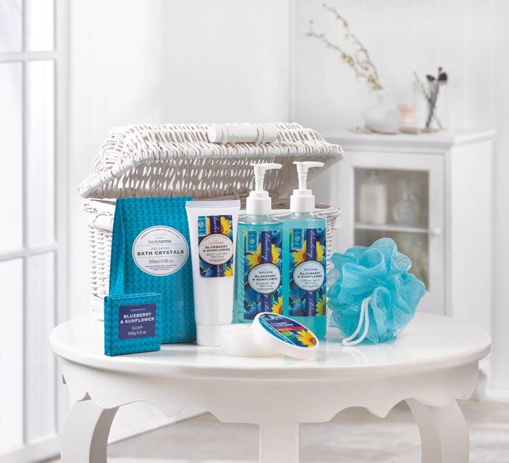 BLUEBERRY & SUNFLOWER SPA BASKET (Item # 10017334)   Don't let the summer slip away! Brighten any day with the luscious scent of blueberries and sunflowers from the spa-worthy bath essentials in this white woven basket.   worthajoygifts.com