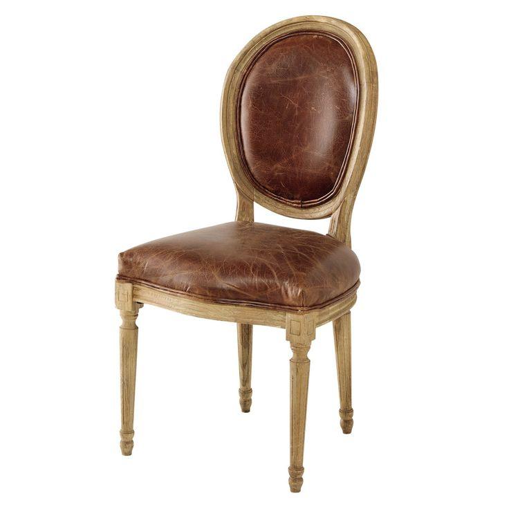 Chaise médaillon en cuir et chêne massif marron