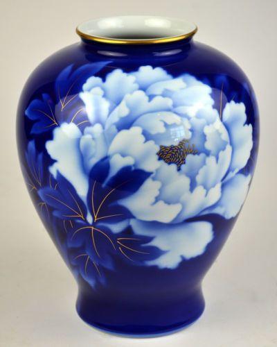 Fukagawa Fine China Vase Porcelain Imperial of Japan Japanese Peony Flower Blue