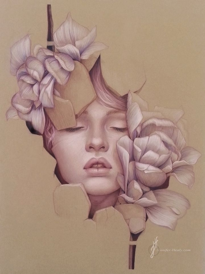 Alluring Female Colored Pencil Portraits by Jennifer Healy - via My Modern Metropolis
