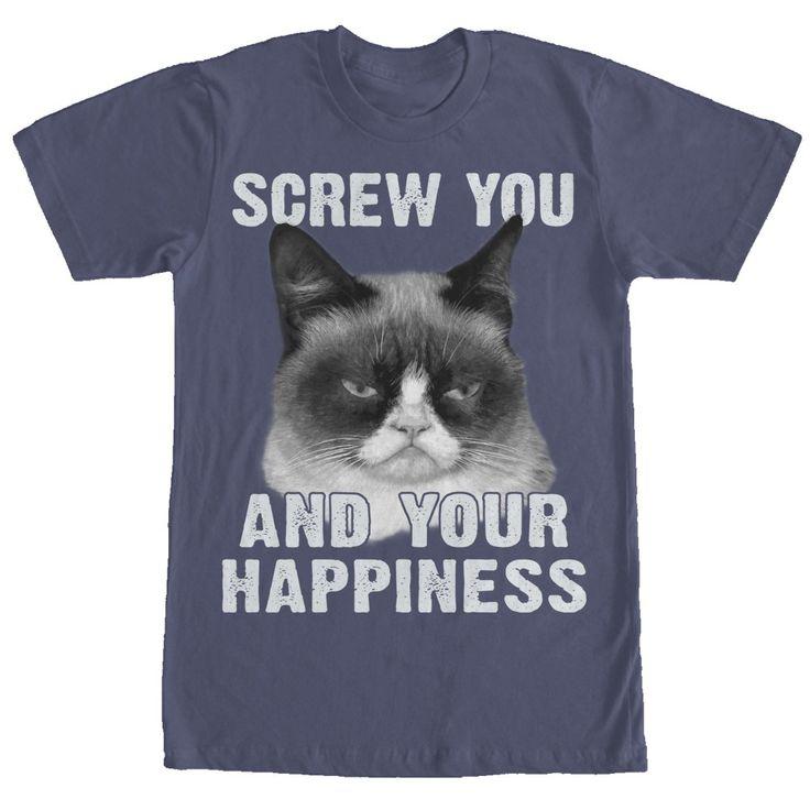grumpy cat wedding invitations%0A Grumpy Cat Men u    s  Screw Your Happiness T Shirt  fifthsun  grumpycat