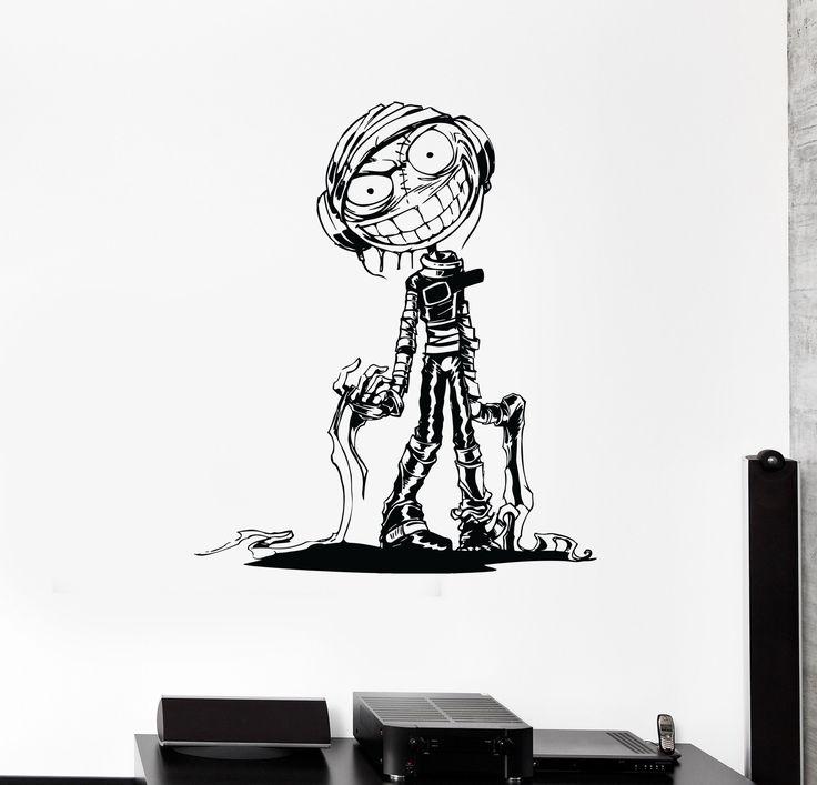Wall Decal Zombie Mummy Crazy Monster Headphones Vinyl Sticker Unique Gift (ed566)