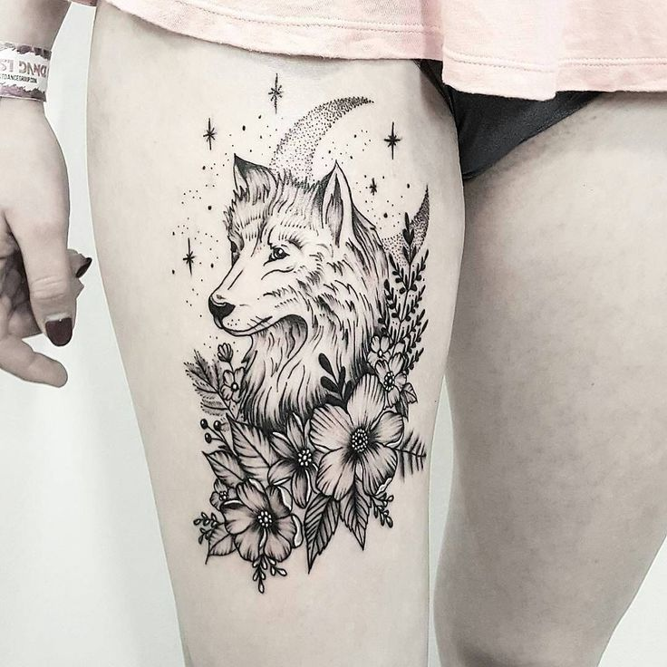 illustrative wolf tattoo