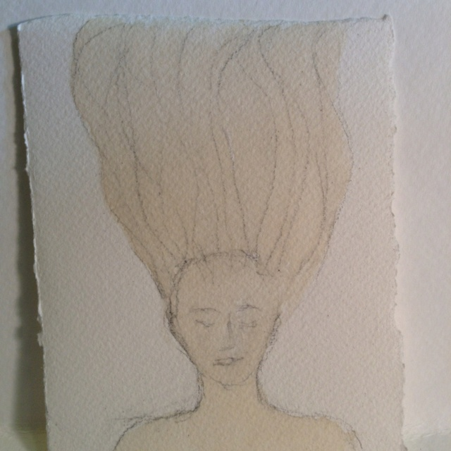 """""""Ophelia"""" in coffee and pencil on watercolor paper for Day 24 of #30DoC"""