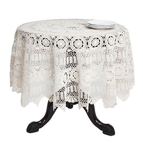 SARO LIFESTYLE 869 Crochet Tablecloths, 90-Inch, Round, Ecru, New, Free Shipping #SAROLIFESTYLE