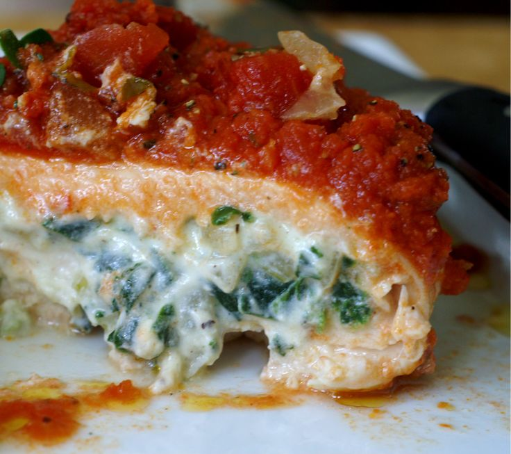 Spinach and Ricotta Stuffed Chicken with Basil Marinara