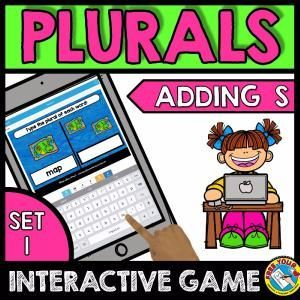PLURALS GAME FOR BEGINNERS: ADDING S (CVC WORDS) KINDERGARTEN LITERACY CENTER  A fun game where children type the plural form of each noun word by adding s. Just right for children beginning to learn plurals! Perfect for Kindergarten literacy centers, homeschool and more!  Keywords: cvc word work, typing plurals, writing plural words, regular plural, plural nouns game, singular and plural, plural adding s, -s plural