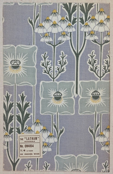 """Furnishing fabric, duplex printed cotton, ca. 1910, British; Liberty & Co. Ltd. """"Latham"""". Ground printed pale blue with a repeating pattern of vertical stems bearing large single stylised flower heads and blossom clusters in white, mid-green, eau-de-nil and yellow."""