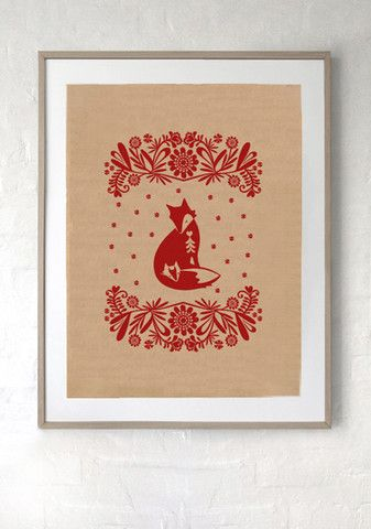 SILK SCREEN ART  PRINT/ Red Fox print on recycled kraft paper. Hand silk screen printed Polish folk art inspired design, ready to frame. $15 from Laikonik