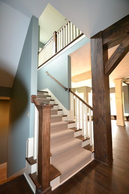 Custom Stairs, Newel Post & Wormy Maple - Rustic Staircase By Hearth & Stone Builders