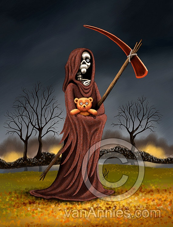 The Fear of Death Grim Reaper Holding a Teddy Bear Fine Art Print by vanAnnies