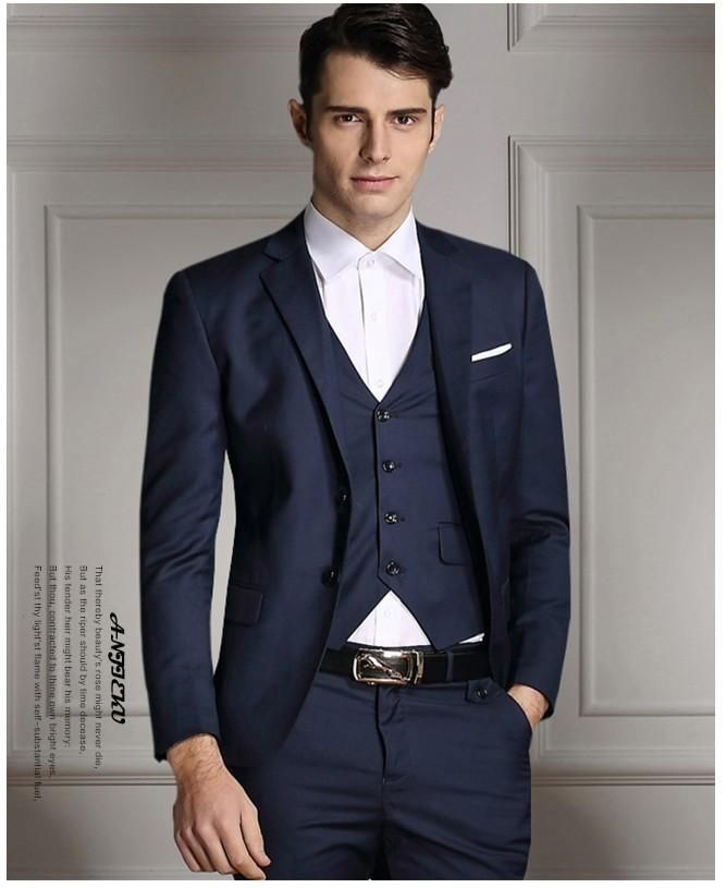 2016 High Quality Cheap Groom Tuxedos Fashion Slim Fit Navy Blue Wedding Prom Suit For Men Jacket+Pants+Vest+Tie Custom Mens Dress Clothes Mens Tuxedo From Dress_home, $95.24  Dhgate.Com