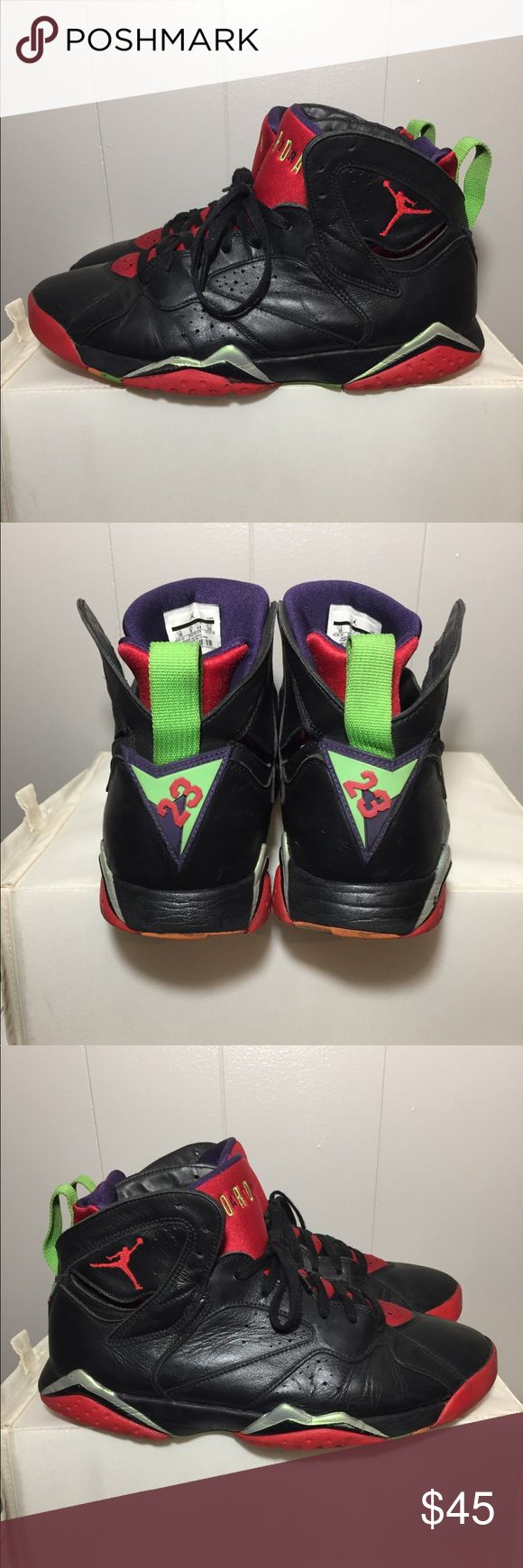 "Air Jordan 7 Retro "" Marvin the Martian"" - mens size: -colorway:black/university red/green pls -stylecode:304775-029 -Release Date:2015 -conditions:BEATERS( heal drag, sole bubbling(see pictures)/separation-uppers are in great condition 100% WEARABLE 👈🏽👈🏽 -No box⬅️ -100% authentic⬅️ -🚫no trades🚫 -Open to serious offers via the "" offer"" feature⬅️ -sold as is!!!👈🏽👈🏽👉🏽👉🏽please look at all pictures and ask questions before buying shoes ⬅️👈🏽 -irrelevant comments will get you…"