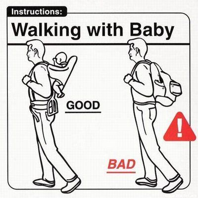 It is a very nice idea to take your baby out for some fresh air....use those fancy baby carrier bags...but definitely not in a bag pack..that's your baby not a library book...