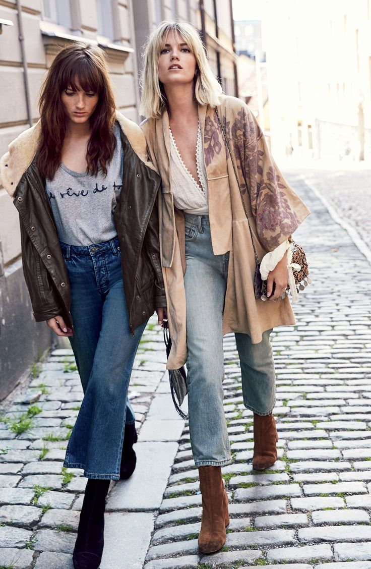 Casual street style   fall layers   comfy tops with denim   bohemian inspiration  