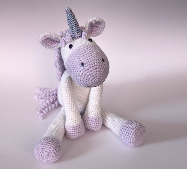 "Calista the Unicorn is a soft, floppy unicorn that measures around 48cm (19"") measured from her toes to the tips of her horn when made using DK yarn with a 3.5mm crochet hook."