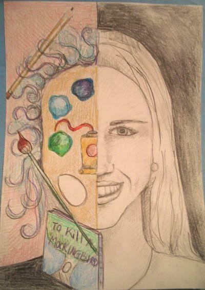 Art Lesson: Split Face Colored Pencil Self-Portrait