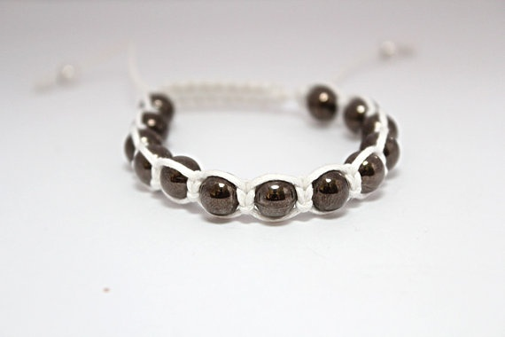 White Macrame Bracelet with Hematite Beads by edgeappeal on Etsy, $20.00Macrame Bracelets, White Macrame