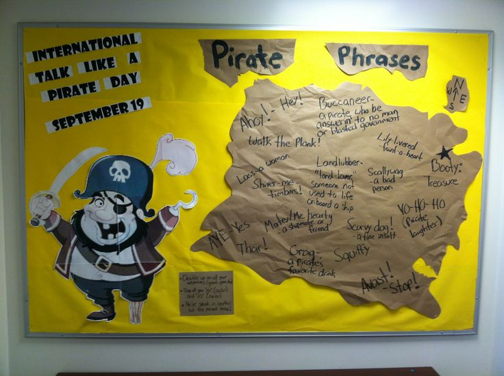 """A creative bulletin board to make residents aware of """"Talk Like a Pirate Day"""" it included tips for talking like a pirate and different pirate phrases."""
