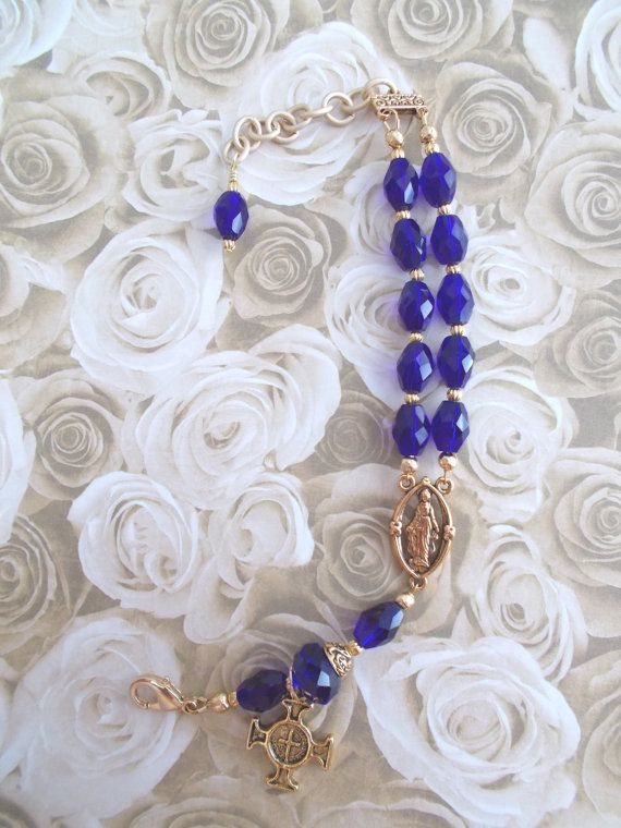 Rosary Bracelet Cobalt Blue Crystals and Gold Lady by GalleryTen
