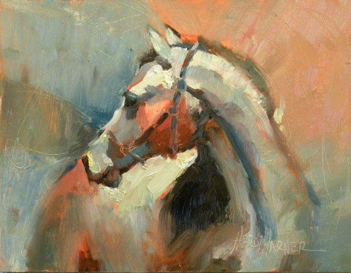 a heidi harner original oil, 'beautiful horse', small paintin